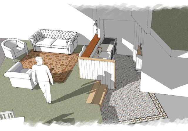 Apt 4 kitchen & sitting area