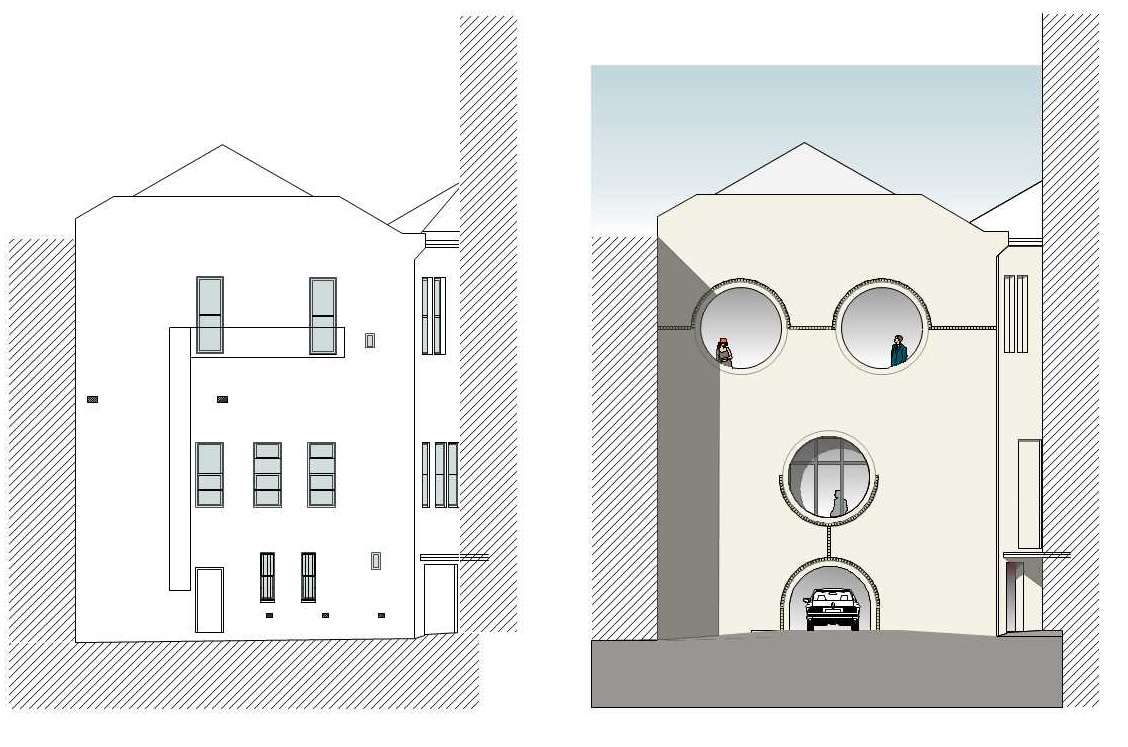 RHS drawing - rear of building shows new eyes on Octagon